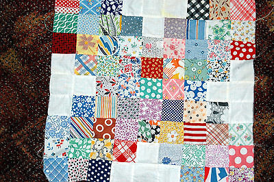 Antique Hand Pieced Postage Stamp Cotton Calico Quilt Block