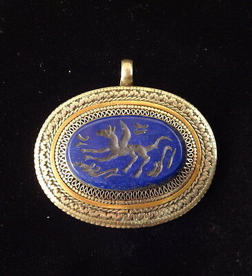 Magic of Roman PEGASUS Intaglio Lapis Silver Pendant #550