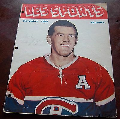 Les Sports  November 1954 Maurice  Richard Geoffrion  Montreal Canadians
