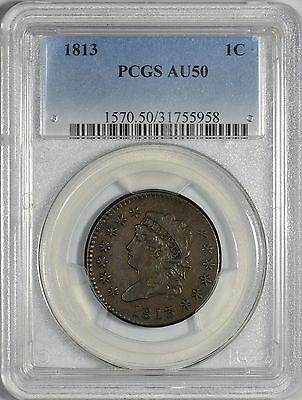1813 Classic Head Large Cent PCGS AU50 - Very Strong For Grade!
