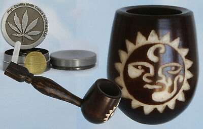 Shadow Mask Wood pipe hand Carved smoking Tobacco Lrg Tagua Pot herb grinder A2