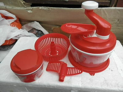 QTY 2, Tupperware Quick Speedy Chef turbo chef travel camping food processor red
