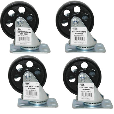 "IIT 4pc 3-1/2"" x 1"" Steel Swivel Casters Set with Brakes Set 80846"