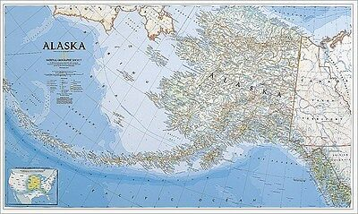 """National Geographic RE00602458 Highly Detailed Map Of Alaska 23"""" H x 38"""" W"""