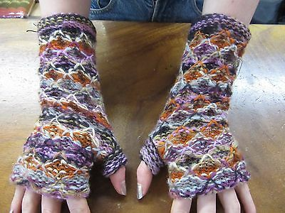 Nepalese Hand Knitted Long Extra Thick Lined Warm Winter Fingerless Gloves