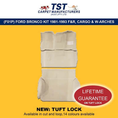Moulded Car Carpets (F01)Ford Bronco Kit 1981-1993 F&r &cargo & Wheel Arches