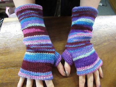 Funky Hippy Nepalese Extra Long Hand Knitted Lined Warm Winter Fingerless Gloves