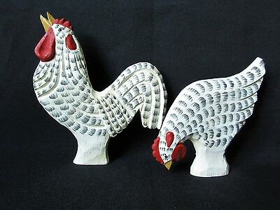 Set Of 2~ JAMES HADDON Hand Carved Wood Rooster's ~Folk Art~ Signed