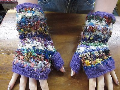 Funky Hippy Nepalese Hand Knitted/Woven Lined Warm Winter Fingerless Gloves