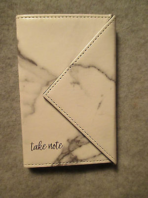 "BLACK White Marble Magnetic LEATHER Cover NOTES Lined PAD 5X3 1/4"" Woman's"