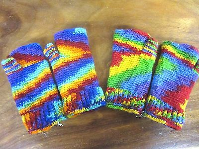 Funky Hippy Nepalese Hand Knitted Rainbow Lined Warm Winter Fingerless Gloves