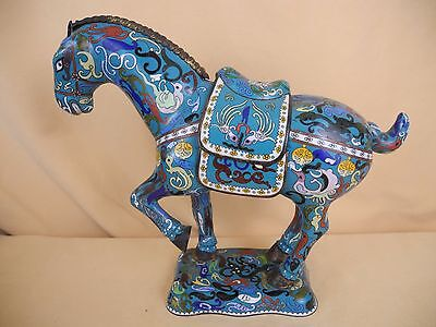 Antique Chinese Royal Bronze Cloisonne Enamel Horse Statue on Enamel Base