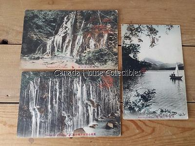 3 x Hand-Colored Antique Hakone Japan Postcards - Ashinoko & Waterfalls