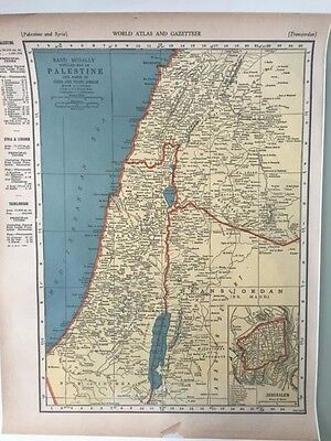 1939 Rand McNally Palestine/Syria Map Enlarged Antique Reproduction -Israel