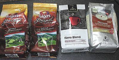 Coffee Clearance 4 Pkg Ground Coffee - Folgers, Kona Blend, Pecan Pie, Columbian
