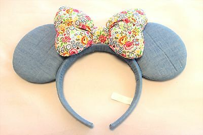 Tokyo Disneyresort Minnie Disney headband Blue Denim Ears Japan Hats Flower