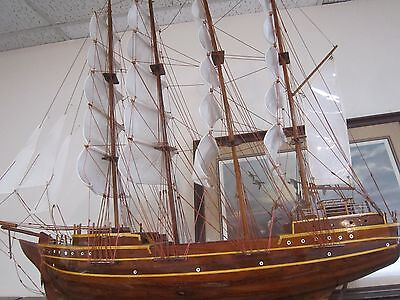 "HUGE Vintage Antique CLIPPER Ship MODEL WOOD SHIP 51"" x 40"" *"