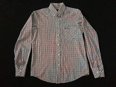 Ben Sherman Mens Shirt Button Up Long Sleeve Blue Red White Check Size S Small