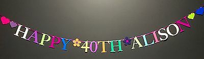40Th Birthday Banner Personalised Bunting Decoration (Any Single Name)