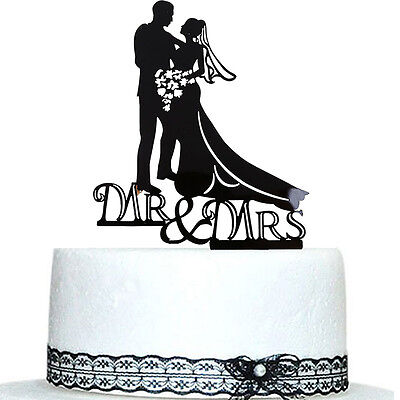 15*13.6cm Bride & Groom Acrylic Wedding Lovers Cake Topper Party Favors Decals