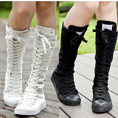 PUNK EMO Women Girl Shoes Canvas Boots Zip Lace Up Top Level Knee High Sneaker