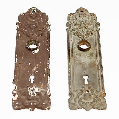 (2) Antique Yale & Towne Pasco Door Plates Backplate Restoration Hardware Ornate