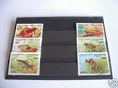 *****timbres Poissons : Serie Complete Du Cambodge 1997 *****