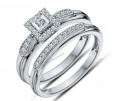 1Ct Diamond Wedding Bridal Set 14K White Gold Princess Round Cut Engagement Ring