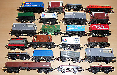Hornby / Dapol / Triang, Closed Vans, Wagons, Flat Bed Wagons, Tanker Etc x 23