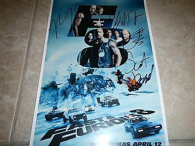 The Fate of the Furious Fast and Furious 8 signed poster 11x17
