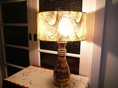 Mid Century Vtg Table Lamp Fibreglass Shade