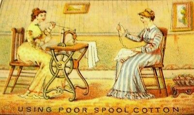 1879-80 J & P Coats Calendar Card Using Poor Cotton Victorian Trade Ladies Y6