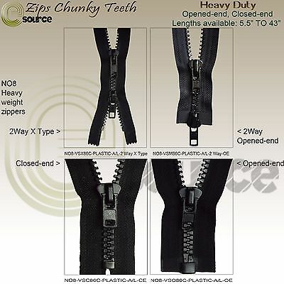 "Zip Chunky Teeth Plastic Closed End No 8 Zipper Opened End Heavy Duty 5"" - 65"""