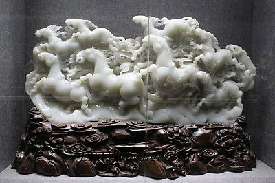 "33""Rare China Natural Hetian Jade Carving 8 Eight Horse Horses Animal Statue"