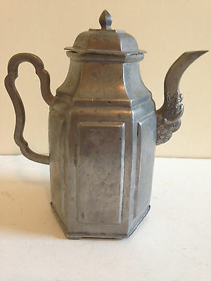 Antique Chinese Pewter Teapot Inscribed Incised Signed Late 19th Early 20th