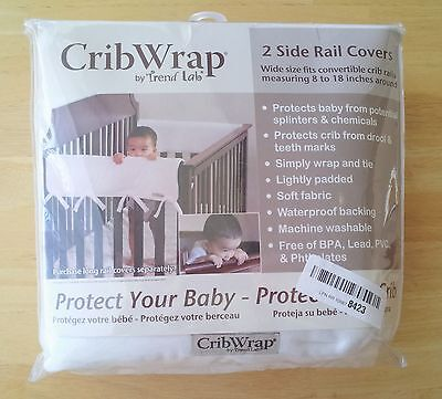 "Trend-Lab CribWrap Wide Rail Cover Set Of 2, 27""x18"", White"