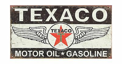 Texaco Winged Logo Distressed Retro Vintage Tin Sign 16 x 9in