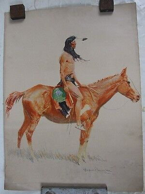 1901 Robert Howard Russell Frederic Remington Print Indian on Horse #2