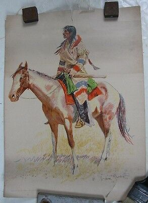 1901 Robert Howard Russell Frederic Remington Print Indian on Horse #3