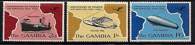 Vg11 Gambia #241-243 Stamps, Mint, Original Gum, Hinged