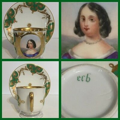 Antique 19th C. Samson Hand Painted Portrait Cup & Saucer -