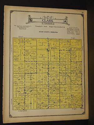 Nebraska Dixon & Dakota Counties Map Clark Township 1925  W5#19