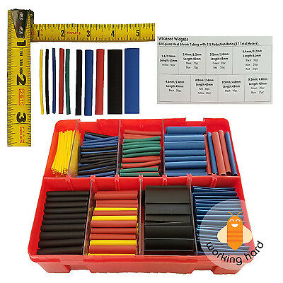 HEAT SHRINK TUBING KIT Wrap Wire Sleeve Tube 600 Piece Color Assortment Box Set