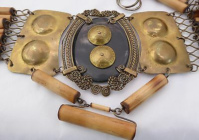 Vtg. Unique Wide Hand Made Bamboo & Brass Chain Belt