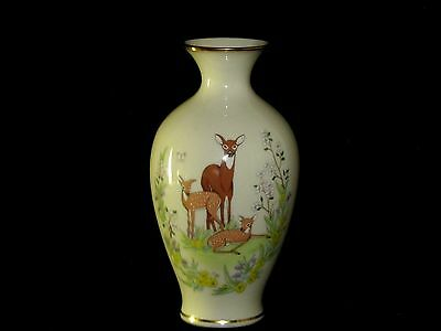 Vintage 1984 Lenox Limited Edition Mothers's Day Vase Doe and Fawns Deer