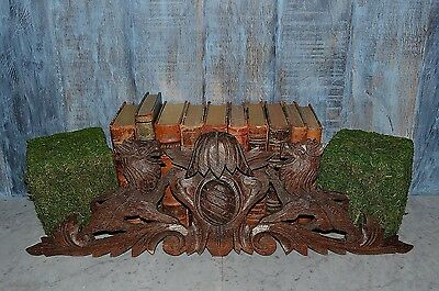 Antique French Carved Wood Lions Crest Medallion Pediment