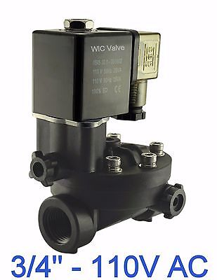 "3/4"" Inch PA66 Plastic Electric Air Water Solenoid Valve Manual Override 110V AC"