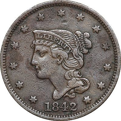 1842 Braided Hair Large Cent, Very Fine VF