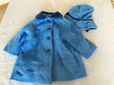 Children's Clothing Vtg Girls Blue Jacket and Hat Set Bambi Character Lining 2T