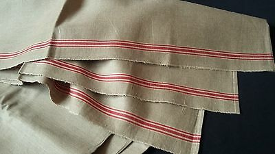 beautiful old ecru linen German Mangle Cloth or long runner with red borders
